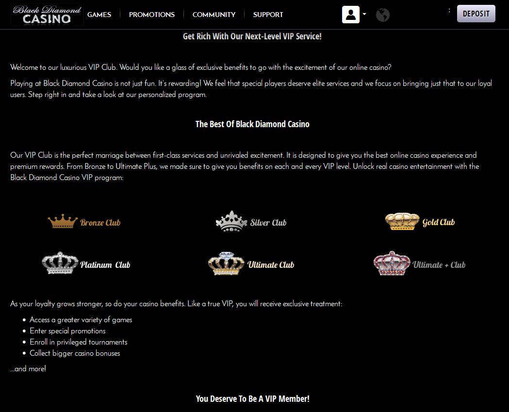 black diamond casino promo code