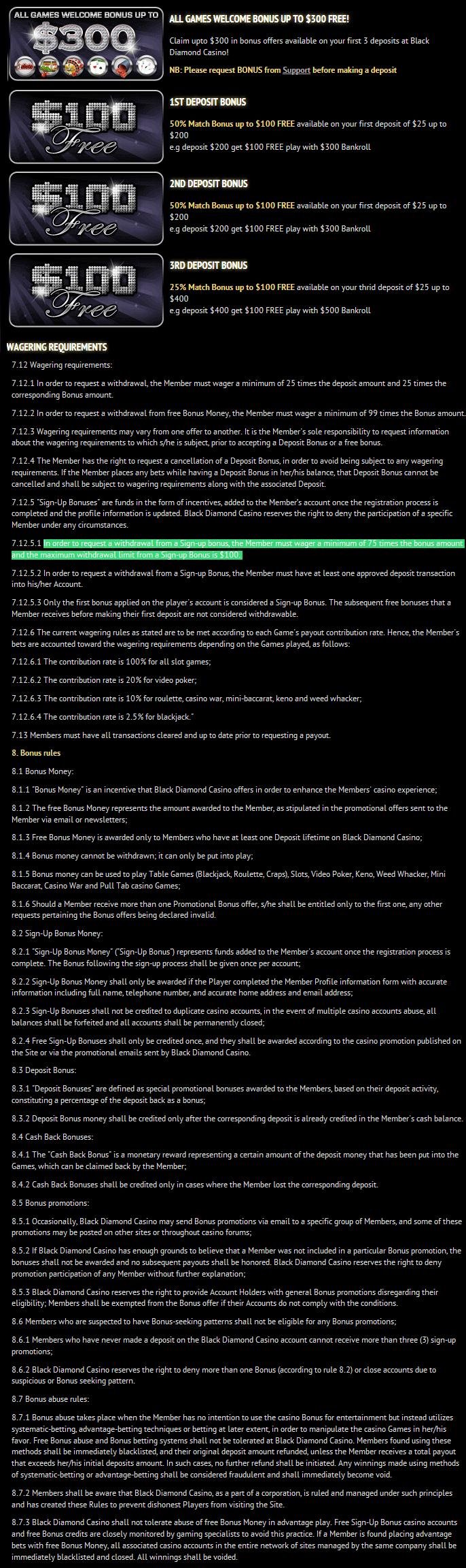 Black Diamond Casino Bonus Codes And Terms