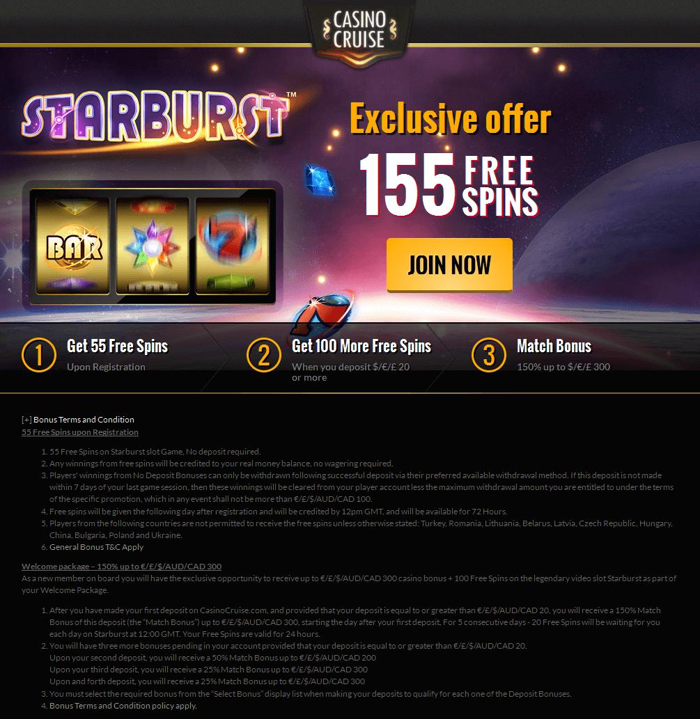 Casino cruise free bonus code